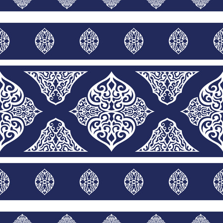 neckerchief: abstract elegant traditional shape seamless pattern on blue background