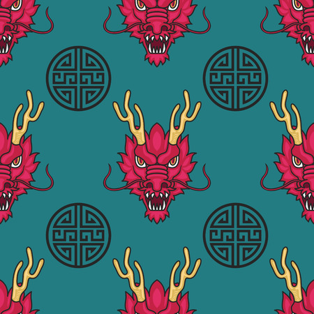 dragon head: red dragon head seamless pattern on green background Illustration
