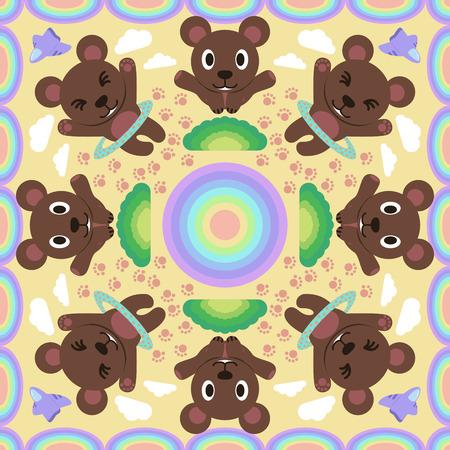balance rainbow colors: action cute bear with rainbow pattern