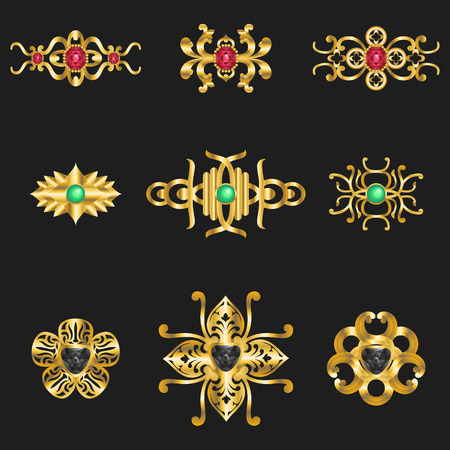 pendants: elegant golden jewelry  pendants ornamental set