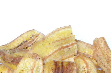 whitem: fried cultivated banana on isolated background Stock Photo