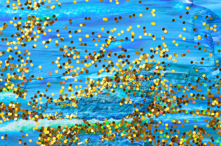 knobby: blue color painting with golden carborundum texture background
