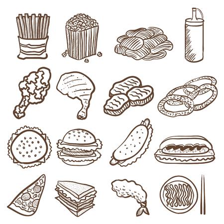 fried shrimp: hand doodle drawing junk food icon set Illustration
