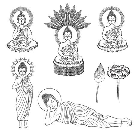 grandeur: vector line drawing variety of buddha gesture