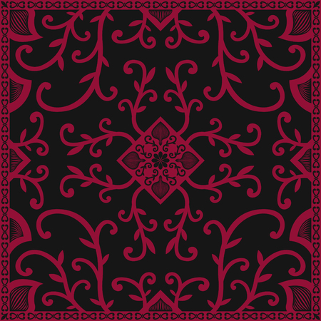 liana: ancient red liana pattern on black Illustration