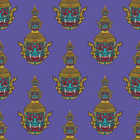 thai painting: thai painting seamless pattern on purple Illustration