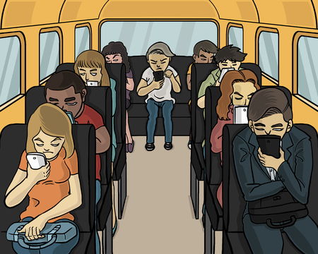 uninterested: everybody in the bus looking down at smartphone