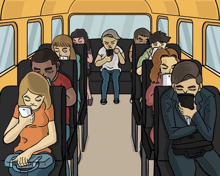 todo el mundo en el autobús mirando hacia abajo en el teléfono inteligente
