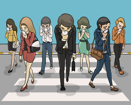 everybody zebra crossing and looking down at smartphone