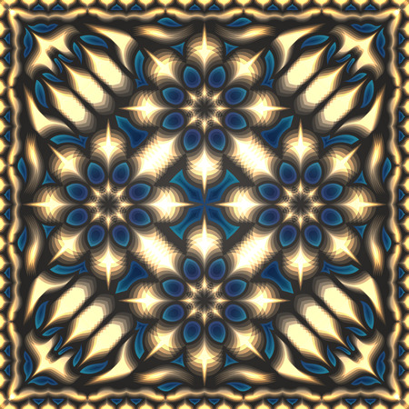 contemporary overlay shape cream and blue on brown pattern Illustration