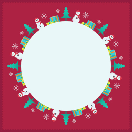 christmas background with white blank circle can use for card, banner etc.