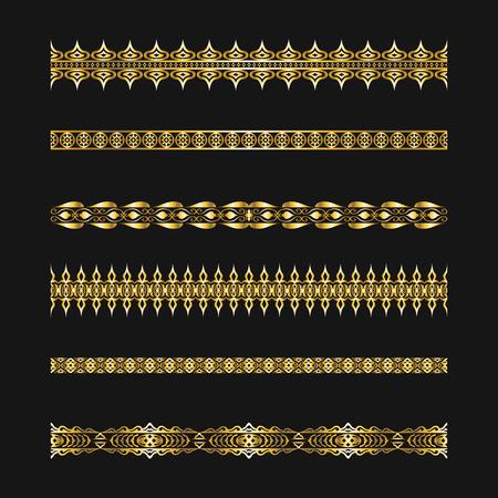 golden elegant ornament lines pattern set