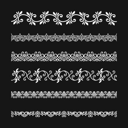 white elegant ornament lines pattern set Illustration