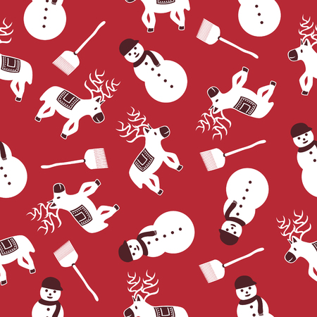 christmas an ornament seamless pattern on red Illustration