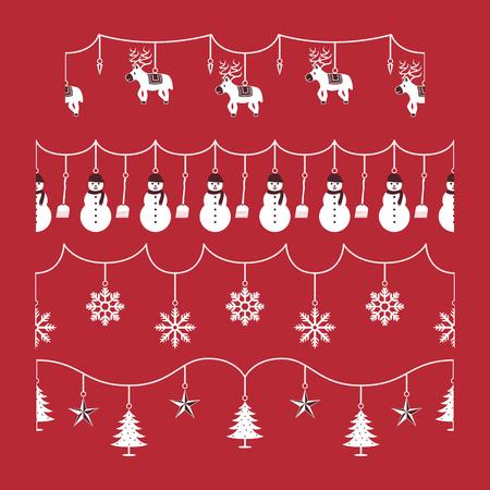set of white christmas ornament