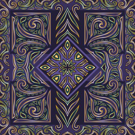 classical vintage style seamless pattern on purple Illustration