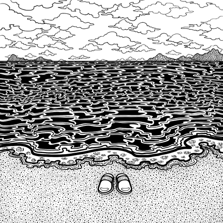 black and white seascape drawing background