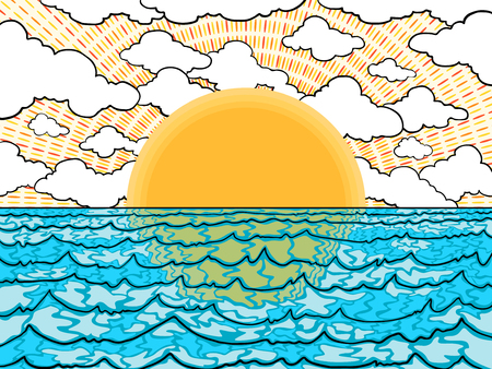 sunset in the sea background