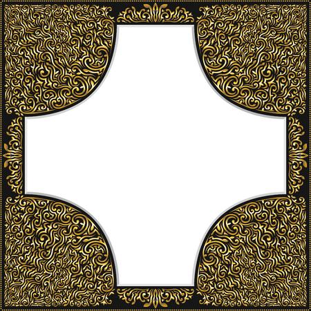 elegant golden filigree frame on black