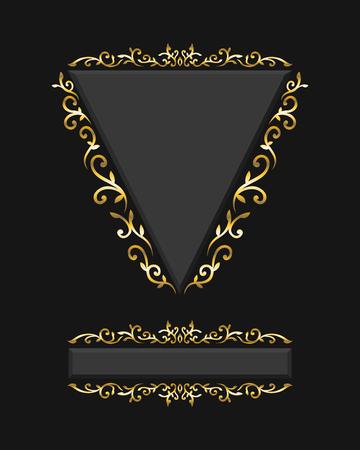 elegant golden filigree triangle and rectangle frame on black
