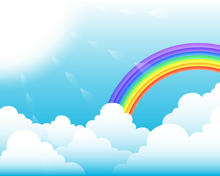 clouds and rainbow in the morning sky background