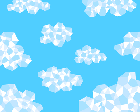 polygon clouds in the blue sky background