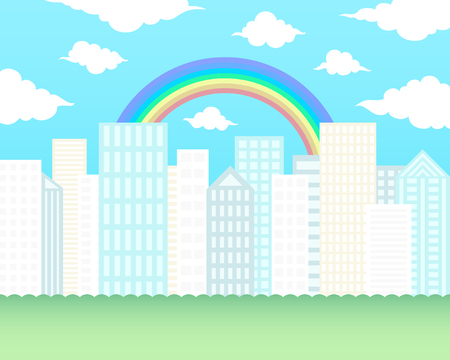 rainbow on the big town background