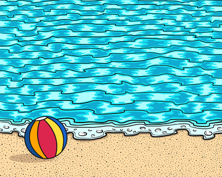 beach ball on sand and sea background