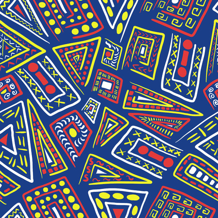 abstract three colors shape seamless pattern on blue
