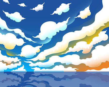 colorful fantasy skyscape and sea background Illustration