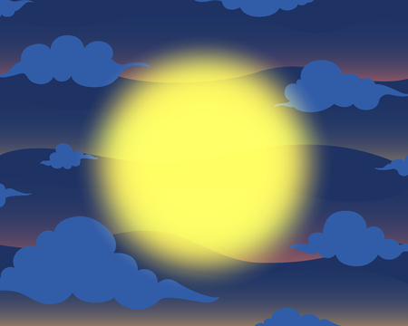 the full moon in the night sky background Illustration