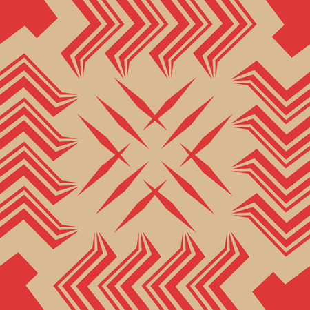 abstract geometric red and cream shape seamless pattern Illustration
