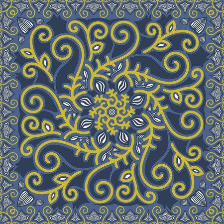 abstract contemporary filigree pattern on blue background Illustration