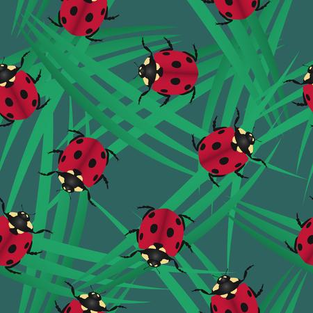 ladybugs on grass seamless pattern