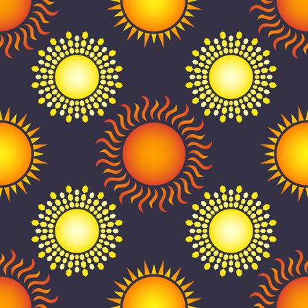 variety sun seamless pattern on dark purple