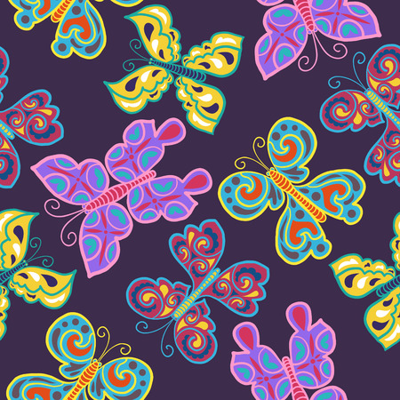 variety butterfly colors seamless pattern on purple Illustration