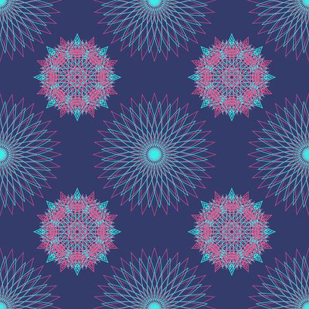 mandala shape seamless pattern on blue