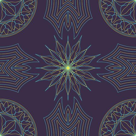 mandala shape seamless pattern on purple Illustration