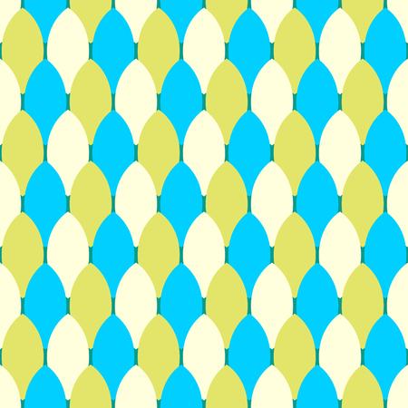 three colors oval shape seamless pattern Illustration