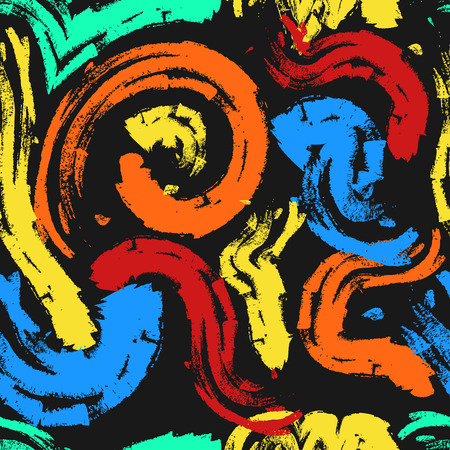 abstract crayon painting colors style seamless pattern on black