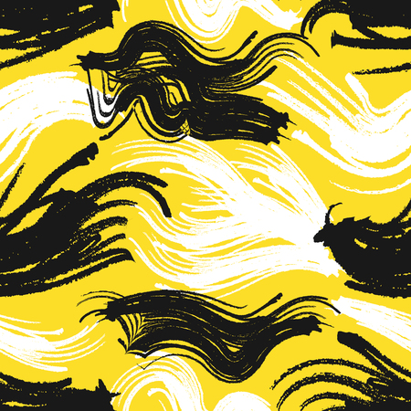 abstract painting colors style seamless pattern on yellow Illustration