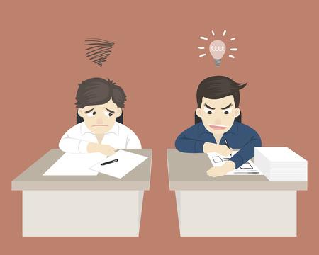 comparación entre dos trabajadores han feliz e infeliz en la oficina
