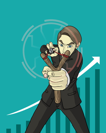 slingshot: a businessman holding slingshot and shooting money to objective