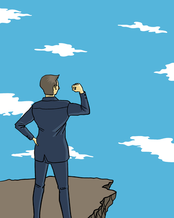 a businessman make a fist with confidence on cliff