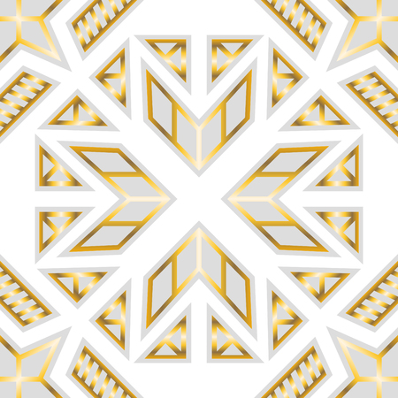 Abstract modern geometric white and gold pattern.