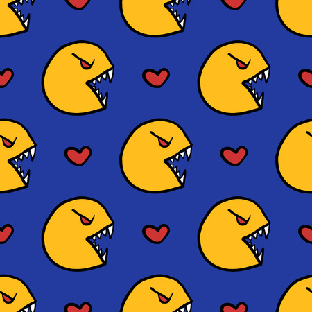 Yellow devil and heart seamless pattern on blue.