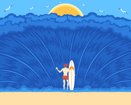 youngman never give up with a big wave in front of him Illustration