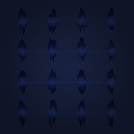 abstract wave dot and grid style on dark blue background