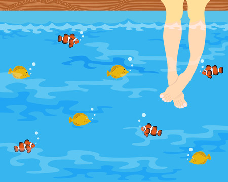 people dipping legs in the sea background Illustration