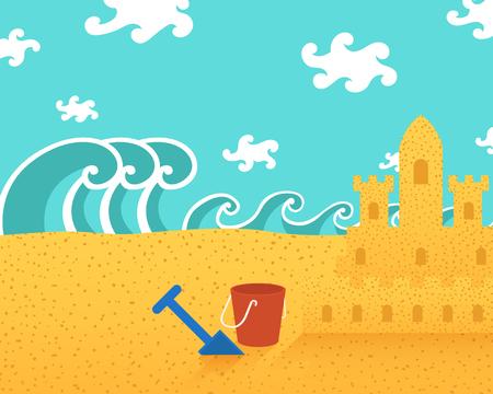 vector summer beach sand castle background Illustration